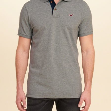 Hình Áo thun nam Hollister HCO-P73 Stretch Pique Icon Heather Grey
