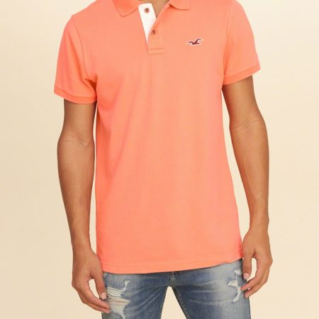 Hình Áo thun nam Hollister HCO-P78 Stretch Pique Icon Bright Orange