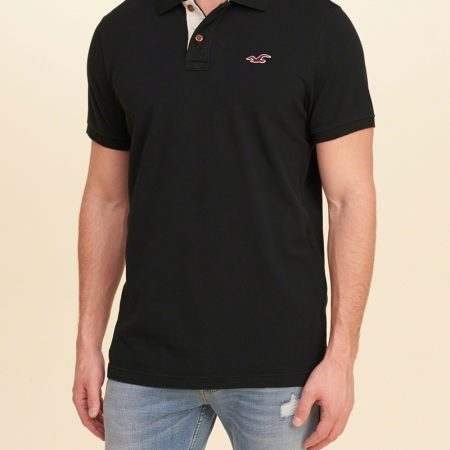 Hình Áo thun nam Hollister HCO-P83 Stretch Pique Polo Black