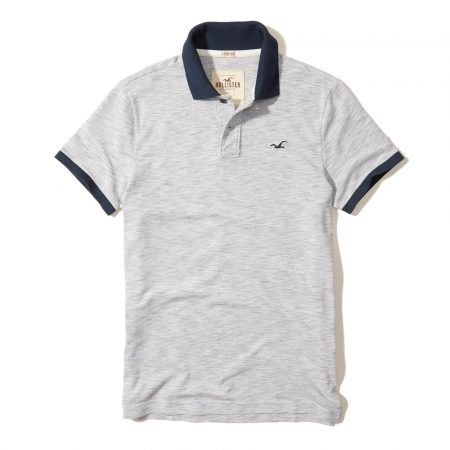 Hình Áo thun nam Hollister HCO-P118 Stretch Pique Icon Polo Heather Light Grey
