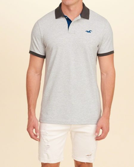 Hình Áo thun nam Hollister HCO-P132 Stretch Pique Icon Polo Heather Light Grey
