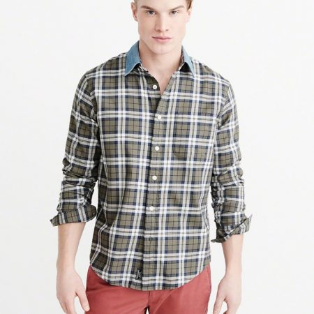 Hình Áo sơmi nam Abercrombie & Fitch AF-US-SM44 Denim Collar Plaid Shirt