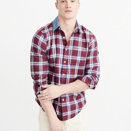 Hình Áo sơmi nam Abercrombie & Fitch AF-US-SM45 Denim Collar Plaid Shirt