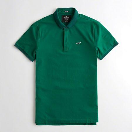 Hình Áo thun nam cổ bẻ Hollister HCO-P164 Stretch Shrunken Collar Polo dark green