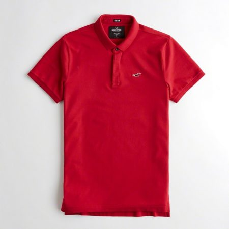 Hình Áo thun nam cổ bẻ Hollister HCO-P166 Stretch Shrunken Collar Slim Fit Polo Red