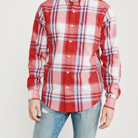 Hình Áo sơmi nam Abercrombie & Fitch AF-US-SM81 Icon Poplin Shirt Signature Fit