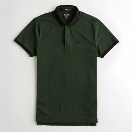 Hình Áo thun nam Hollister HCO-P205 Stretch Shrunken Collar dark olive Polo