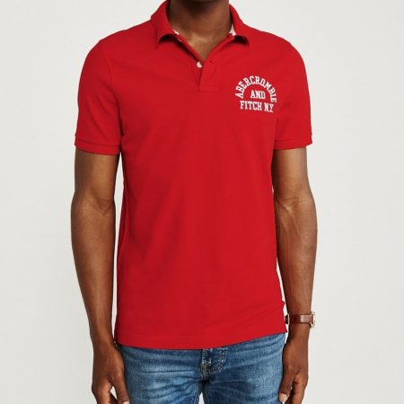 Hình Áo thun polo Abercrombie & Fitch AF-US-P44 Stretch Logo Polo Red