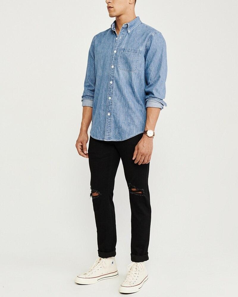 Áo sơmi nam Abercrombie & Fitch AF-US-SM90 One-Pocket Denim Shirt