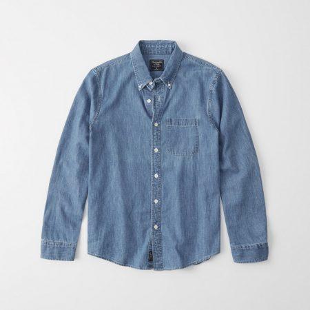 Hình Áo sơmi nam Abercrombie & Fitch AF-US-SM90 One-Pocket Denim Shirt