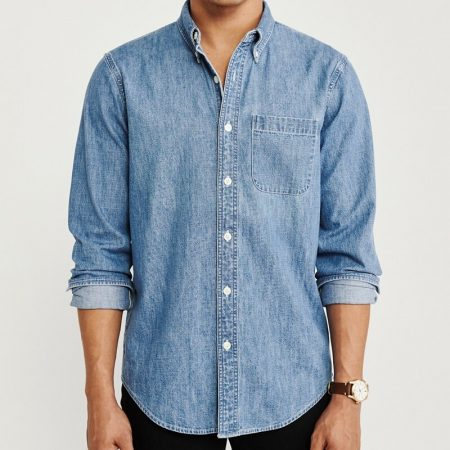 Hình Áo sơmi nam Abercrombie & Fitch AF-US-SM90 One-Pocket Denim Shirt