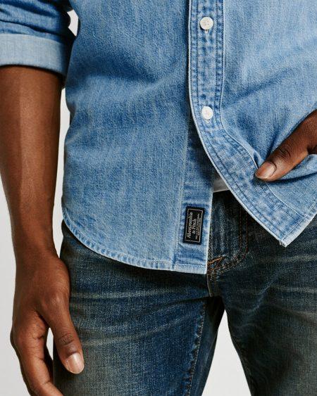 Hình Áo sơmi nam Abercrombie & Fitch AF-US-SM92 One-Pocket Denim Shirt