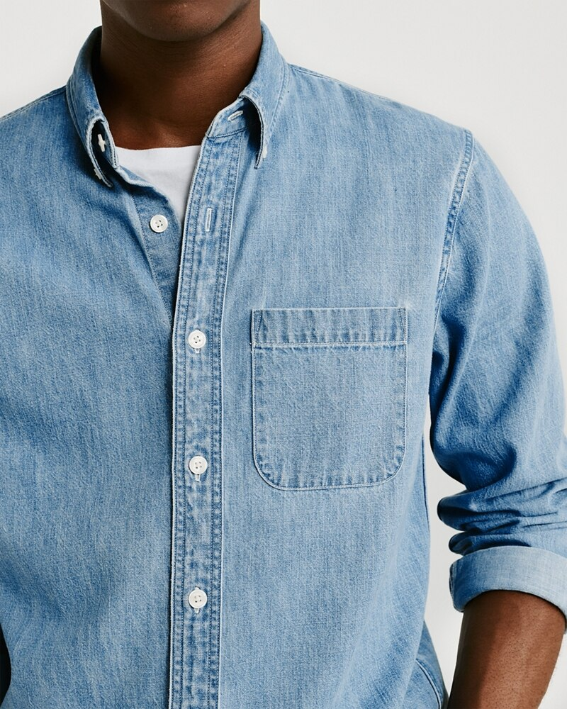 Áo sơmi nam Abercrombie & Fitch AF-US-SM92 One-Pocket Denim Shirt