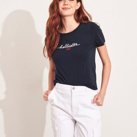Hình Áo thun nữ Hollister HCO-US-NT11 Embroidered Rose Graphic Tee