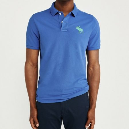 Hình Áo thun polo Abercrombie & Fitch AF-US-P46 Stretch Exploded Icon Blue Polo
