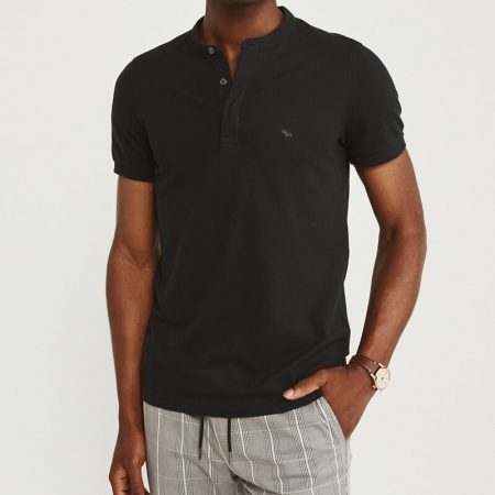 Hình Áo thun polo Abercrombie & Fitch AF-US-P68 Super Slim Banded Polo Black