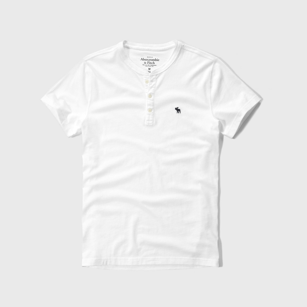 Áo thun nam Abercrombie & Fitch cổ trụ AF-H17 Iconic Jersey Henley White