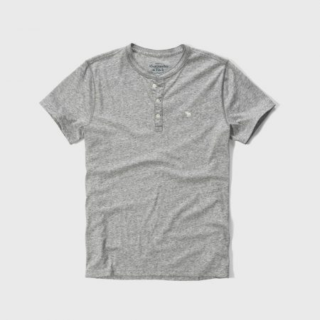 Hình Áo thun nam Abercrombie & Fitch cổ trụ AF-H18 Iconic Jersey Henley Heather Grey