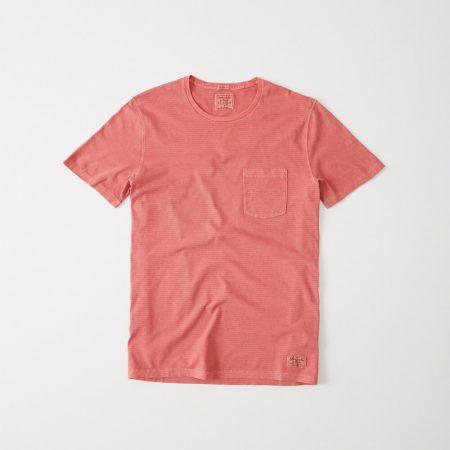 Hình Áo thun nam Abercrombie & Fitch AF-T278 Garment Dye Striped Crew Tee Coral