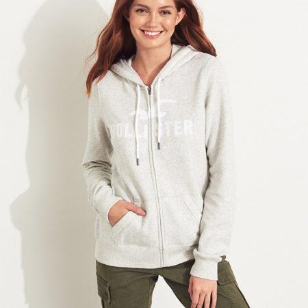 Hình Áo khoác nữ Hollister HCO-NK10 Logo Full-Zip Hoodie Light Grey