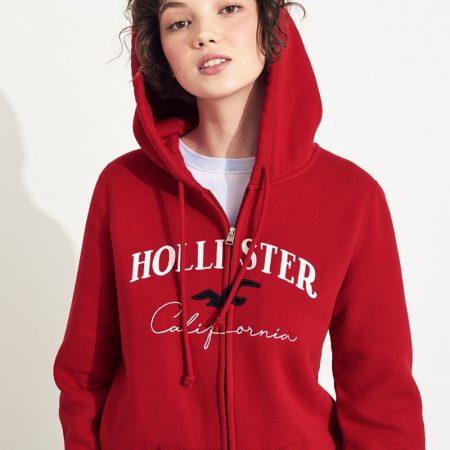 Hình Áo khoác nữ Hollister HCO-NK13 Embroidered Logo Full-Zip Hoodie Red