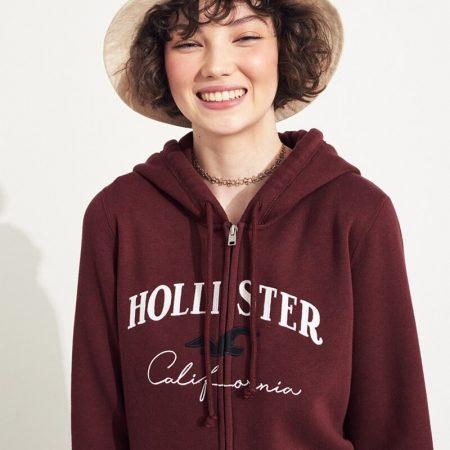 Hình Áo khoác nữ Hollister HCO-NK15 Embroidered Logo Full-Zip Hoodie Burgundy