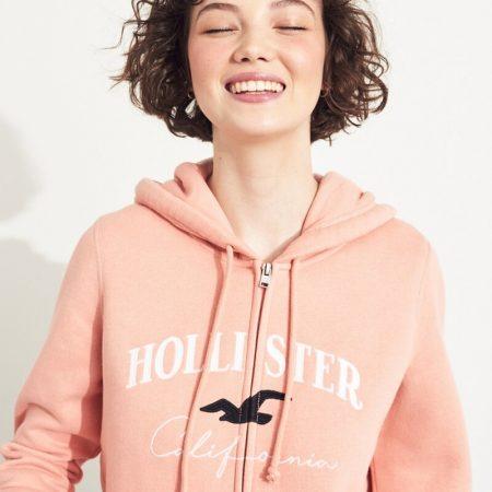 Hình Áo khoác nữ Hollister HCO-NK17 Embroidered Logo Full-Zip Hoodie Pink