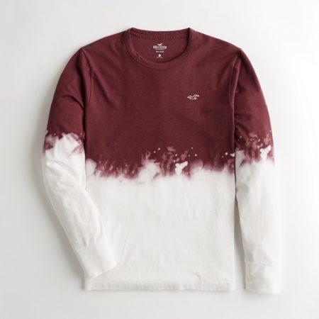 Hình Áo thun nam tay dài Hollister HCO-HL34 Dip-Dye Crewneck T-Shirt Burgundy