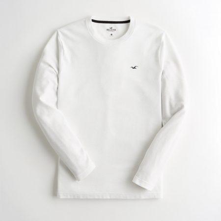 Hình Áo thun nam tay dài Hollister HCO-HL56 Ribbed Crewneck T-Shirt White