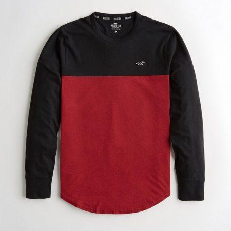 Hình Áo thun nam tay dài Hollister HCO-HL81 Colorblock Curved Hem T-Shirt