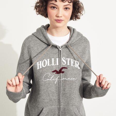 Hình Áo khoác nữ Hollister HCO-NK18 Embroidered Logo Full-Zip Hoodie Grey