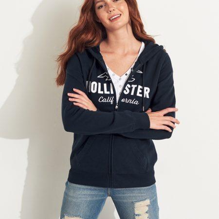 Hình Áo khoác nữ Hollister HCO-NK19 Logo Full-Zip Hoodie Navy