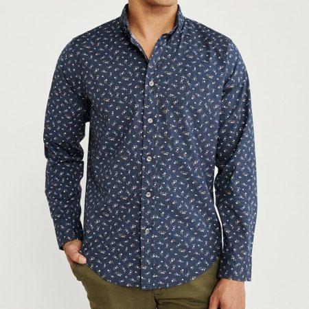 Hình Áo sơmi nam Abercrombie & Fitch AF-US-SM100 Print Poplin Shirt