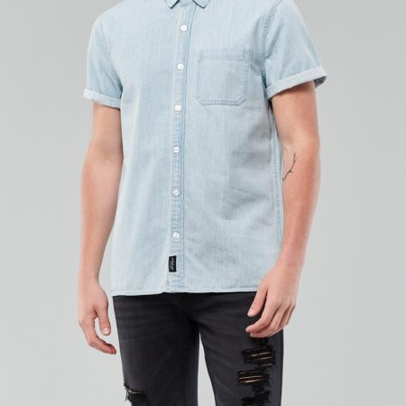 Hình Áo sơmi nam Hollister HCO-US-SM32 Denim Slim Fit Shirt Chambray