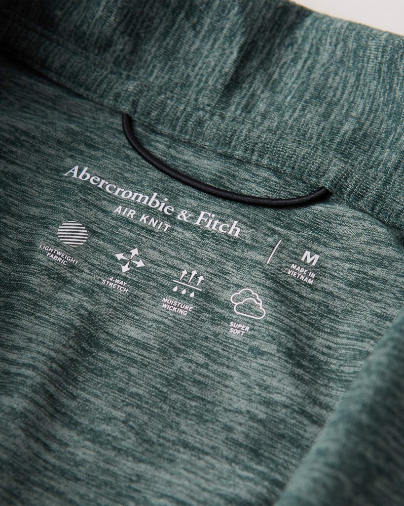 Áo thun polo Abercrombie AF-P129 Air Knit Polo heather green