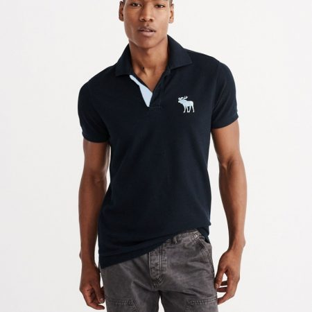 Hình Áo thun nam polo Abercrombie AF-P136 Stretch Big Icon Polo Navy