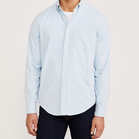 Hình Áo sơ mi nam Abercrombie AF-US-SM118 Oxford Shirt Light Blue Check