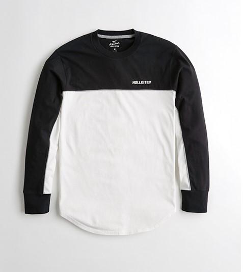 Áo thun nam tay dài Hollister HCO-HL31 Colorblock Curved Hem T-Shirt