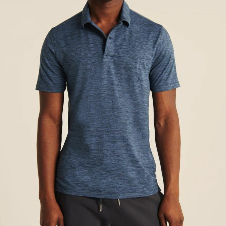 Hình Áo thun polo Abercrombie AF-P131 Air Knit Polo heather Blue